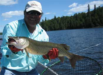 first muskie fishing in canada at lodge
