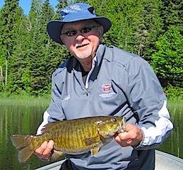 Rick Creson Fishing for Trophy Smallmouth Bass at Fireside Lodge Canada