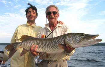 HUGE 45-inch Tiger Musky caught Fishing at Fireside Lodge Canada