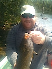 Trophy Smallmouth Bass by Zack Adams fishing at Fireside Lodge Canada