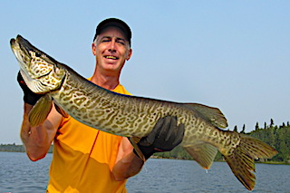 BIG Tiger Muskie While Fishing Smallmouth Ba