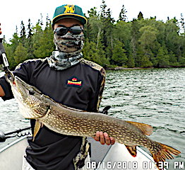 Keeghan Fishing BIG Northern Pike with Grandpa in Canada at Fireside Lodge