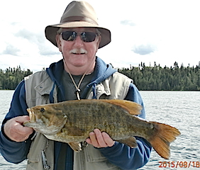 GIANT 20-inch Trophy Smallmouth Bass by Pat Fishing at Fireside Lodge