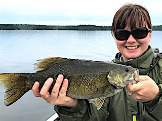 Big Smallmouth Bass Fishing by Crystal at Fireside Lodge in Canada