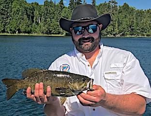 Kyle Fishing His First BIG Trophy Smallmouth Bass in Canada