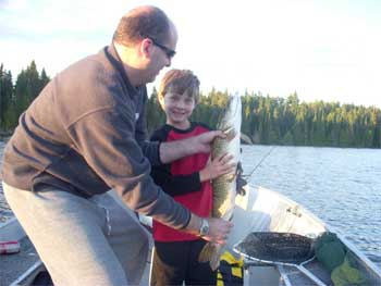 father son fishing lodge for northern pike Canada