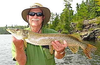 1st Northern Pike by Don Lenau Fishing at Fireside Lodge Canada