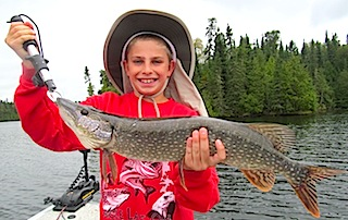Kids Fishing Northern Pike at Fireside Lodge Canada by Tyler Klimes