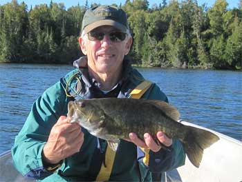 Large Smallmouth Bass Fishing at Fireside Lodge Canada