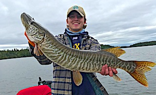 HUGE Tiger Muskie Fishing by Ryan at Fireside Lodge in Canada on a Krave Bait