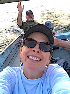 Boating Selfie Fishing at Fireside Lodge in Northwest Ontario Canada