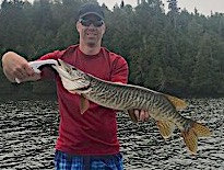 My First Ever Muskie a BIG Tiger Muskie Fishing by Brian at Fireside Lodge in Canada