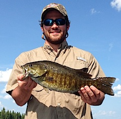 William with 2nd trophy Smallmouth Bass Fishing at Fireside Lodge Canada